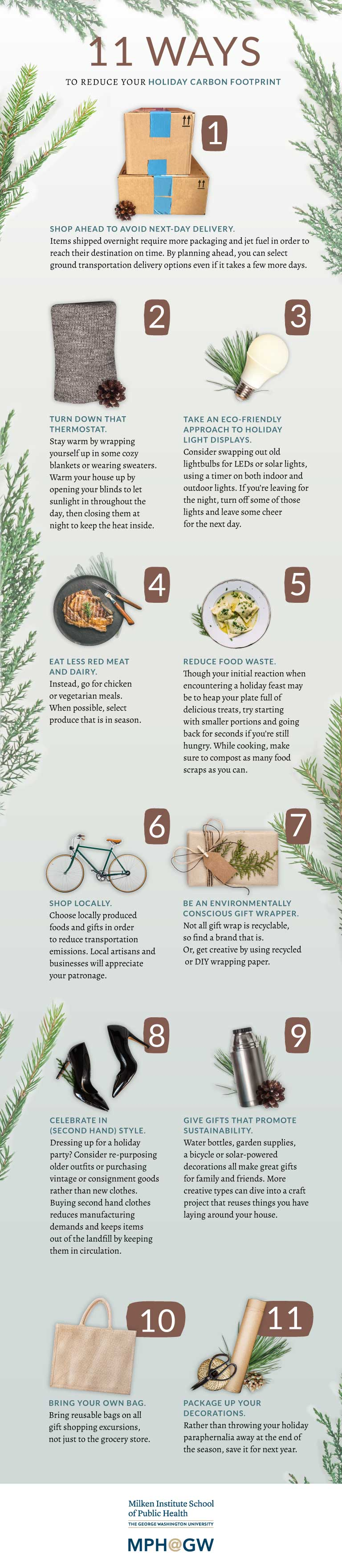 Infographic showing 11 ways to reduce your holiday carbon footprint.